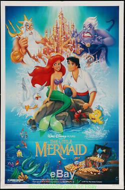 Le Film Petite Sirène Affiche Originale 1989 Ds Plié 27x41 Disney Animation
