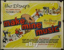 Make Mine Musique 1946 Orig 22x28 Brit Affiche Du Film Disney Nelson Eddy Dinah Shore
