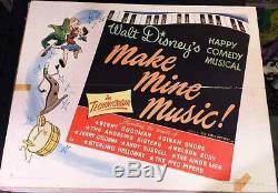 Make Mine Musique! '46 Walt Disney Animation Originale 1/2-feuille Affiche De Film