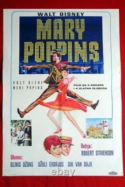 Mary Poppins Walt Disney Julie Andrews 1964 Affiche De Cinéma Dick Van Dyke Rare Exyu