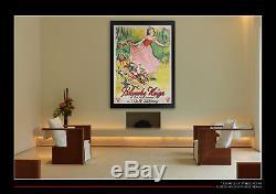 Neige Blanche Rko Walt Disney 4x6 Pieds Sur Lin Français Grande Affiche Originale 1937