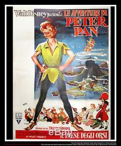 Peter Pan Disney Rko 55 X 78 Affiche Italienne De Film Quatre Feuilles Originale 1953