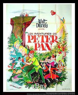 Peter Pan Walt Disney 4x6 Pieds Français Vintage Grande Affiche Du Film 1965