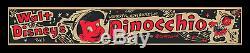Pinocchio 1948 1-de-genre Disney Rko Émis Bureau Bureau Carte Vidéo Movie Poster