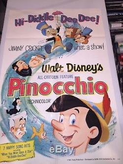 Pinocchio Affiche Originale De Film 27 X 41 Ss / Pliée 1962 Disney
