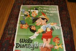Pinocchio Film Affiche Originale Grand 3 Feuilles 41 X 84 Disney 1962 Couleur De Sharp