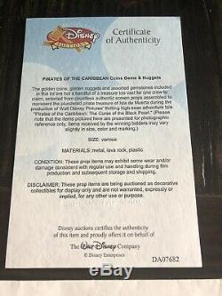 Pirates Des Caraïbes Prop Coins Gem Gold Treasure (enchères De Disney) Coa