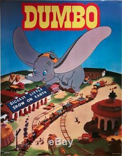 Rare Affiche De Film Vintage Walt Disney Dumbo 28x22 Très Bon État