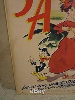 Saludos Amigos (1943) Carte De Fenêtre Originale De Donald Duck De Walt Disney