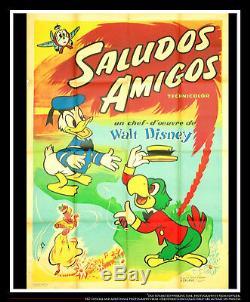 Saludos Amigos Walt Disney 4x6 Ft Sur Toile De Lin Grande Française Originale Rereleas 1942