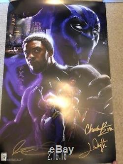 Sdcc 2017 Black Panther Marvel Disney Affiche De Film Cast Signée Chadwick Boseman