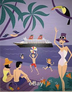Shag Josh Agle Disney Cruise Line Île Intermission Encadrée Giclée Sur Toile