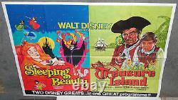 Sleeping Beauty/treasure Island Original Rare Disney Britannique Quad Film Affiche