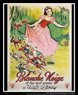 Snow White Rko Walt Disney 4x6 Ft Sur Linge Affiche Originale 1937