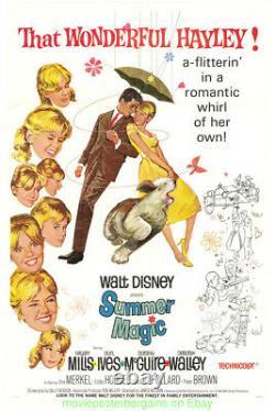 Summer Magic Movie Poster 27x41 V. F. Lin Soutenu Disney Film 1963 Hayley Mills