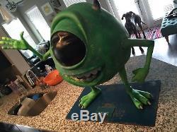 Taille De La Vie Disney Pixar Monsters Inc Statue Pleine Grandeur Mike Wazowski Rare Prop