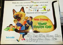 That Darn Cat! Affiche De Film De 1/2 Feuille Originale '65 Walt Disney Live Classic