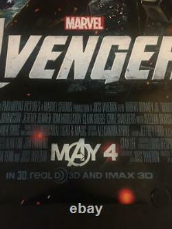 Très Rare Original The Avengers Advance Movie Poster Double Sided Marvel Disney