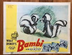 Vente! Bambi 1942 Walt Disney Originale Lobby Carte-rare Oeuvre D'art-fleurs Skunk