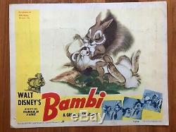 Vente! Bambi 1942 Walt Disney Originale Lobby Carte-rare-thumper Oeuvre D'art & Lapins