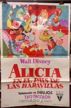 Vieux Très Rare Affiche Originale De Film Argentine Alice Au Pays Des Merveilles De Walt Disney