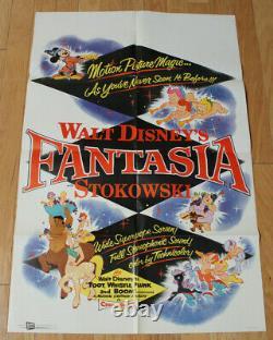 Vintage Disney Fantasia Affiche 1 Feuille Buena Vista 1956 Relibération Stokowski