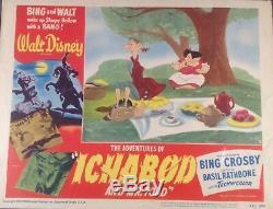 Vintage Disney Rare Orig. Carte De Lobby Ichabod Et M. Toad N ° 1 - 1949