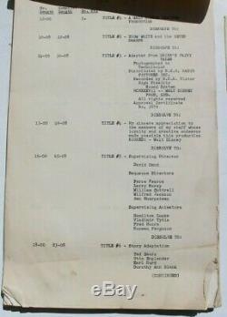 Vtg 1938 Walt Disney Blanche Neige Et Les Sept Nains Continuité Film Script