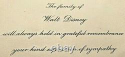 Walt Disney 1966 Incroyablement Rare Famille Disney Reconnaissance De La Carte De Condoléances