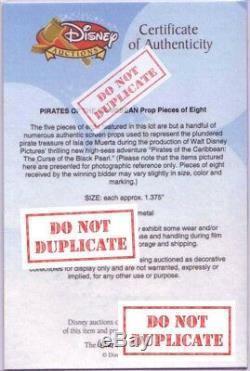 Walt Disney Authentique Rare Prop Coin Pieces Of Eight Pirates Des Caraïbes