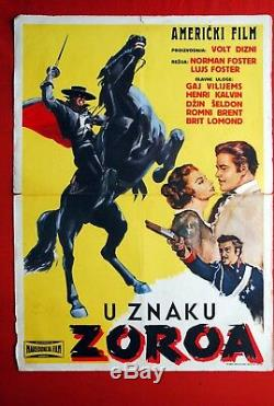 Zorro Avanger Walt Disney 1959 Guy Williams Rare Exyu Affiche Du Film